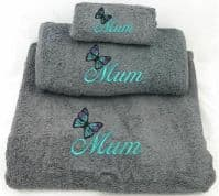 Grey Embroidered Butterfly Mum design Towel set.